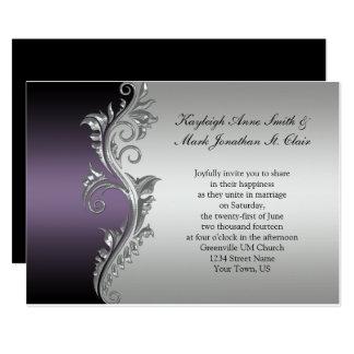 Captivating Vintage Purple Black And Silver Wedding Invitation Idea
