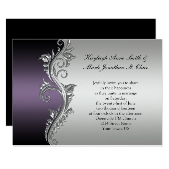 Silver And Purple Wedding Invitations: Vintage Purple Black And Silver Wedding Invitation