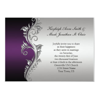 Marvelous Vintage Purple Black And Silver Wedding Invitation Amazing Pictures