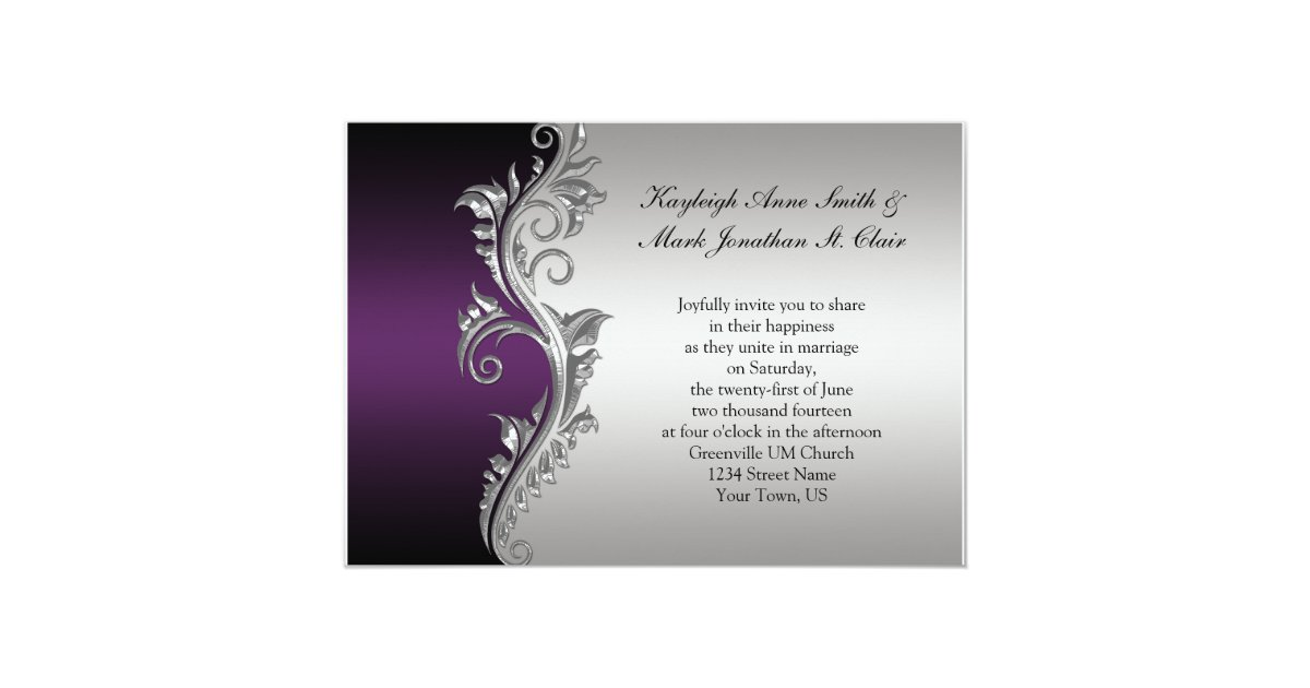Silver And Purple Wedding Invitations: Vintage Purple Black And Silver Wedding Invitation