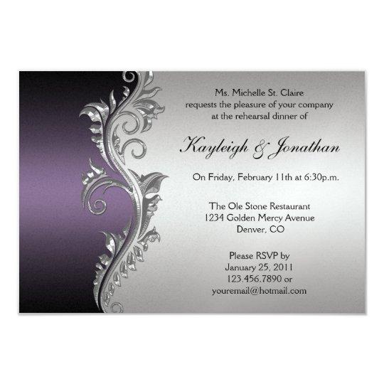 Vintage Purple Black Silver Rehearsal Dinner Invitation