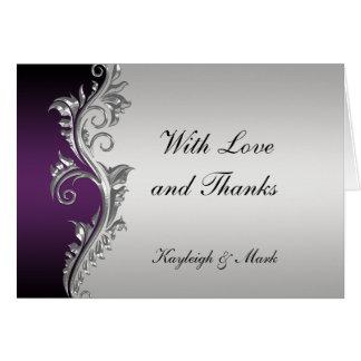 Vintage Purple Black Silver Thank You Card