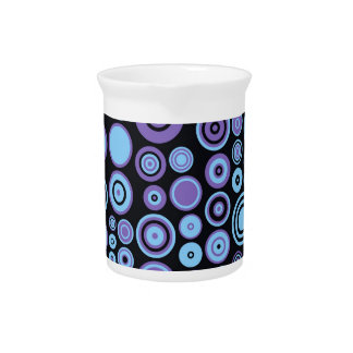 Vintage Purple Blue and Black Fifties Abstract Art Drink Pitchers
