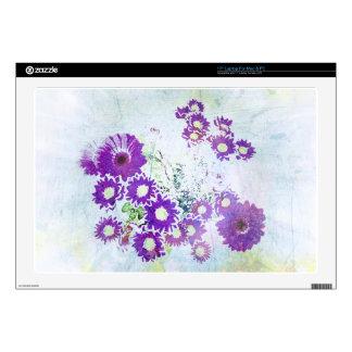 "Vintage Purple Blue Flower Blossoms Photo Design Skin For 17"" Laptop"