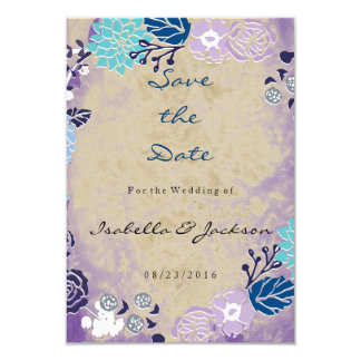 Vintage Purple & Blue Garden Wreath Wedding Card