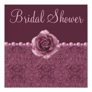 vintage purple bridal shower roses pearls lace invitation
