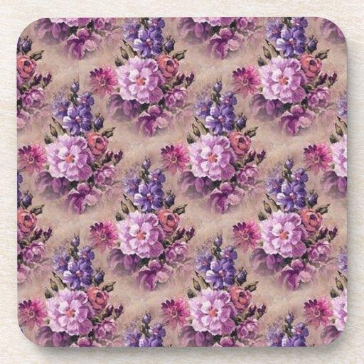 Vintage Purple Brown Floral Coaster