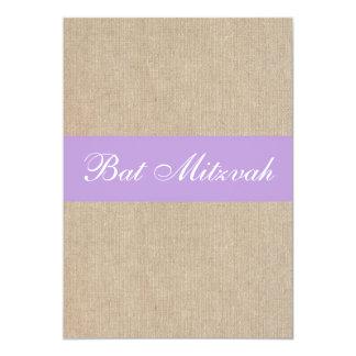 Vintage Purple Burlap Bat Mitzvah Invitation