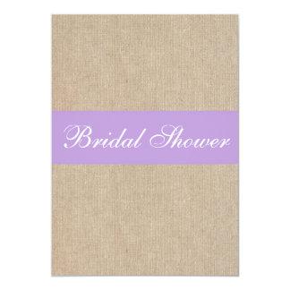Vintage Purple Burlap Bridal Shower Invitation