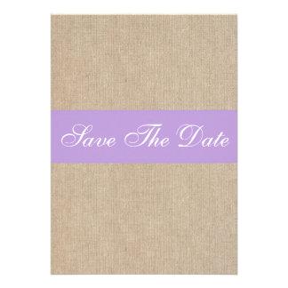 Vintage Purple Burlap Save The Date Announcement