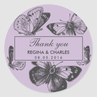 Vintage Purple Butterfly Wedding Thank You Sticker