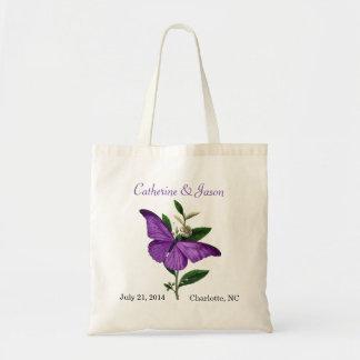 Vintage Purple Butterfly Wedding Tote Bag