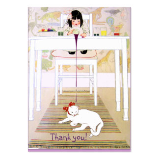 Vintage Purple Cat Thank You Large Business Card