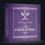 "Vintage Purple Chalkboard Family Cookbook 3 Ring Binder<br><div class=""desc"">A fun,  vintage chalkboard look for this personalized family cookbook binder.</div>"