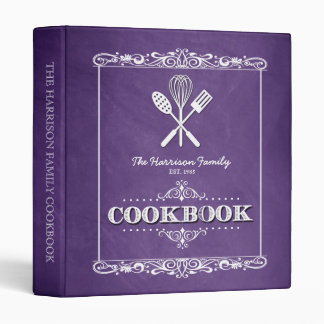 Vintage Purple Chalkboard Family Cookbook 3 Ring Binder