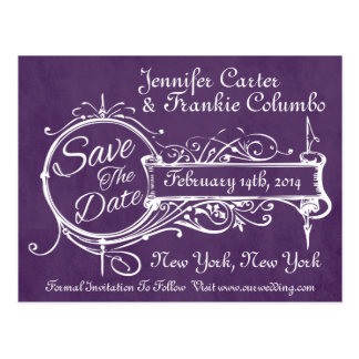 Vintage Purple Chalkboard Save The Date Postcard