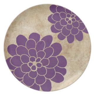 Vintage Purple Dahlia Floral Wedding Party Plate