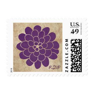 Vintage Purple Dahlia Floral Wedding Stamp
