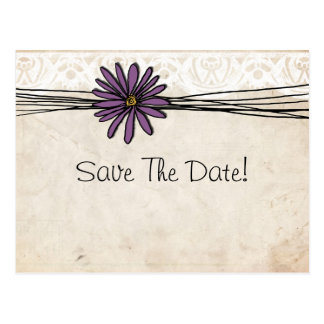 Vintage Purple Daisy Save The Date Post Card