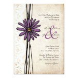 "Vintage Purple Daisy Wedding Invitations 5"" X 7"" Invitation Card"