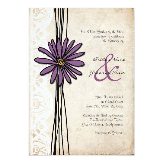 Vintage Purple Daisy Wedding Invitations