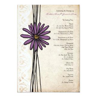 Vintage Purple Daisy Wedding Program 5x7 Paper Invitation Card