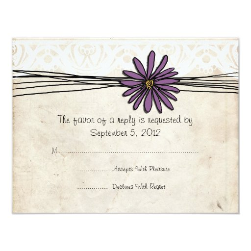 Vintage Purple Daisy Wedding RSVP 4.25x5.5 Paper Invitation Card