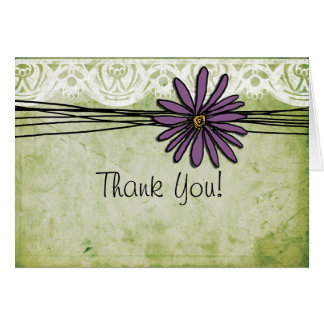 Vintage Purple Daisy Wedding Thank You Note Card