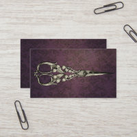 Vintage Purple Damask Antique Scissor Hair Stylist Business Card