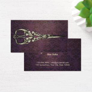 Antique business cards templates zazzle vintage purple damask antique scissor hair stylist business card cheaphphosting Images