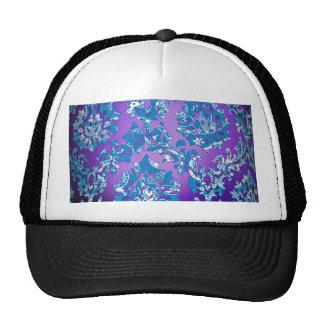 Vintage Purple Damask Blue White Floral Background Trucker Hats