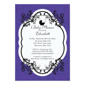 Vintage Purple Damask Girls Baby Shower Invitation