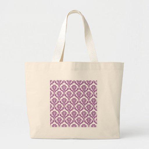 Vintage Purple Damask Pattern Canvas Bag