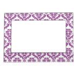 Vintage Purple Damask Pattern Frame Magnets