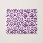 Vintage Purple Damask Pattern Jigsaw Puzzle