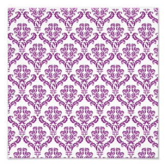 Vintage Purple Damask Pattern Photograph