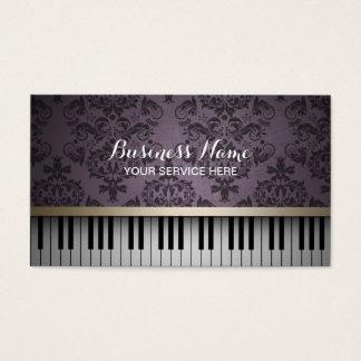 Vintage Purple Damask Pattern & Piano Keys Music Business Card