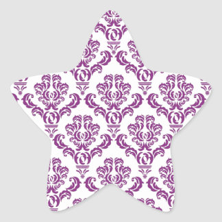 Vintage Purple Damask Pattern Star Sticker
