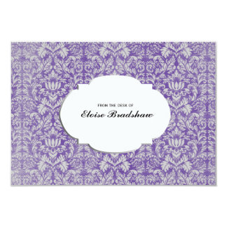 Vintage Purple Damask Personalized Card