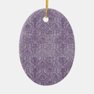 vintage purple damasks pattern ceramic ornament