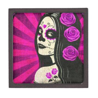 Vintage Purple Day of the Dead Girl Premium Trinket Box