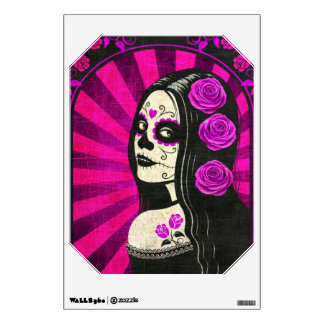 Vintage Purple Day of the Dead Girl Wall Graphic