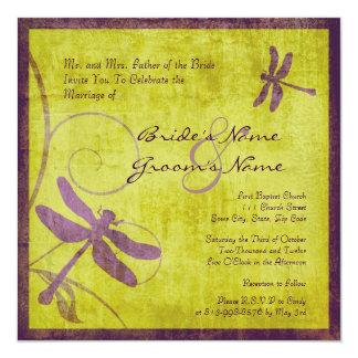 Vintage Purple Dragonfly Wedding Invitation