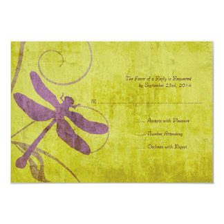 Vintage Purple Dragonfly Wedding RSVP Personalized Announcements