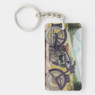 Vintage Purple F.N. Motorcycle Print Keychain