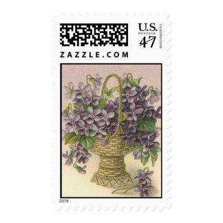 Vintage purple floral basket - Postage Stamp