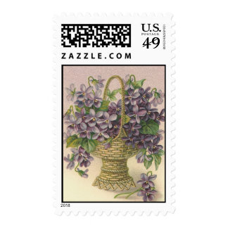 Vintage purple floral basket - Postage Stamp