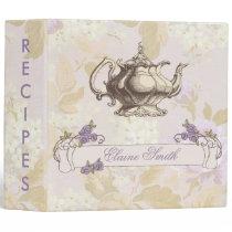 vintage purple floral Bridal Shower Recipe Folder
