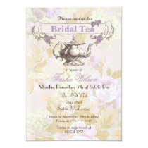 vintage purple floral Bridal Tea Party Invites