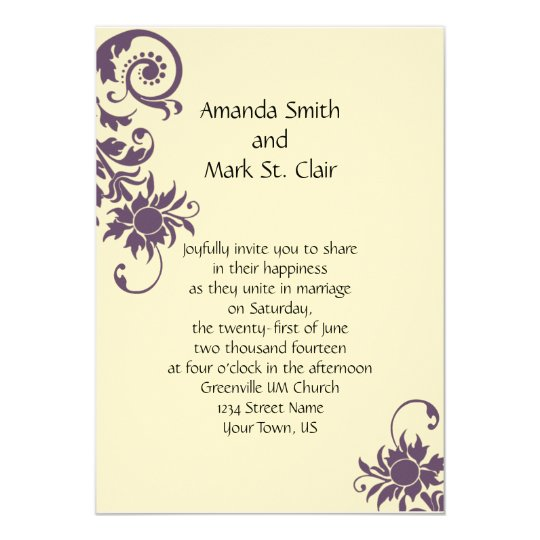 Vintage purple floral elements wedding invitation zazzle for Free wedding invitation samples zazzle